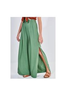Calça Pantalona Verde Com Fendas