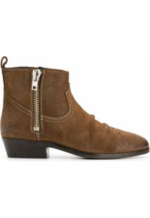 Golden Goose Ankle Boot Com Zíper Lateral - Marrom