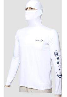 Camiseta Dryfit Ninja Fishing Co. Branca Ufp 50+ Ref. 1022