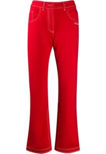 Off-White Calça Jeans Flare Com Pesponto Contrastante - Vermelho
