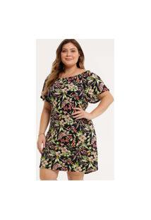 Vestido Plus Size Feminino Estampa Floral Marisa