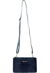 Bolsa Transversal Azul Marinho Em Couro Recuo Fashion Bag