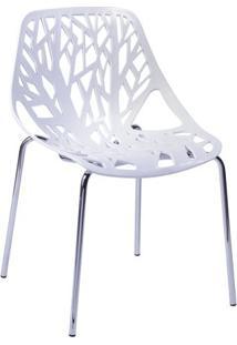 Cadeira De Jantar Folha- Branca & Prateada- 80X54X43Or Design