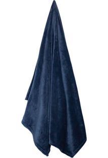 Cobertor Solteiro Velour Azul Marinho (150X200Cm)