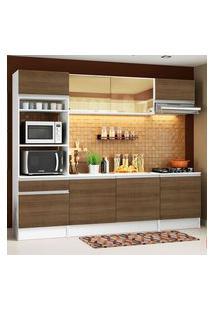 Armário De Cozinha Completa Madesa Diamante Com Balcão E Tampo Branco/Rustic Rustic