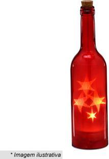 Garrafa Decorativa Com Luz- Vermelha- 28,5Xã˜7Cm-Mabruk