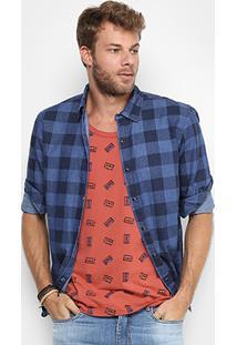 Camisa Xadrez Redley Indigo Masculina - Masculino-Azul Escuro