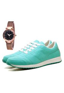 Tênis Sapatênis Casual Elegant Com Relógio Gold Feminino Dubuy 1102-1103La Verde