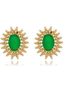 Brinco Rendado Pedra Verde Lua Mia Joias - Semijoia Folheada A Ouro 18K - Feminino-Dourado