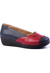 Sapato Feminino Anabela 194 Em Couro Metalizado Doctor Shoes - Feminino-Marinho