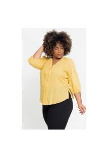 Blusa Ampla Almaria Plus Size Pianeta Devorê Amarelo