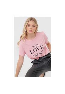 Camiseta Colcci Self Love Rosa