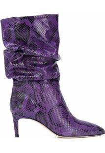 Paris Texas Ankle Boot Com Efeito De Pele De Cobra E Salto 65Mm - Roxo