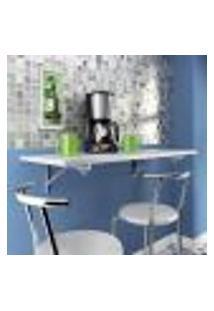 Mesa Cozinha Dobravel De Parede Em Mdp 15Mm Cor Branco 45X60