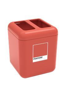 Porta-Escova Cube 8,5 X 8,5 X 10,5 Cm Coral Pantone Coza