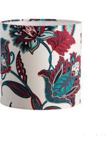 Cúpula De Abajur Floral 20X20Cm Azul E Vermelho Ls Ilumina