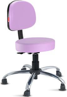 Cadeira Mocho Lilás Secretária Cromada