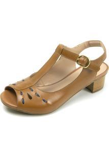 Sandália Retrô Peep Toe Touro Boots Feminina Whisky - Kanui