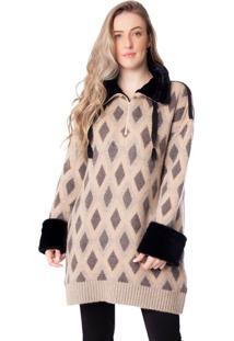 Blusa Feminina Biamar Oversized Com Pele Fake Bege/Preto - U