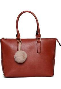 Bolsa Nice Bag Tote Alça Dupla Fixa Feminina - Feminino-Marrom