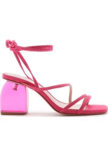 Sandália Salto Bold Acrilic Lace-Up Pink   Schutz