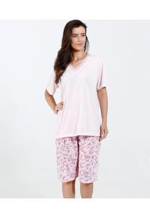 e0470a5a4c150c Pijama Feminino Manga Curta Estampa Flores Marisa
