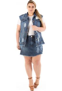 Colete Jeans Plus Size - Confidencial Extra Destroyed Azul