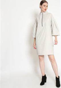 Vestido Com Pregas - Off White - Ahaaha