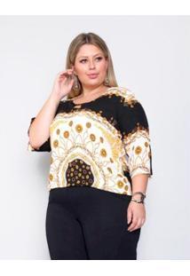 Blusa Plus Size Palank #Fashion Feminina - Feminino-Preto