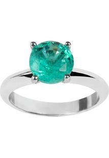 Anel Solitário The Ring Boutique Pedra Cristal Turmalina Fusion Ródio Ouro Branco