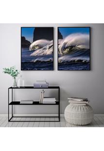 Quadro Oppen House 70X100Cm Onda Praia Malibú Califórnia Decorativo Interiores Sala De Estar Quartos Moldura Preta Com Vidro