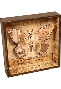 Quadro Decorativo De Parede Butterfly Com Moldura