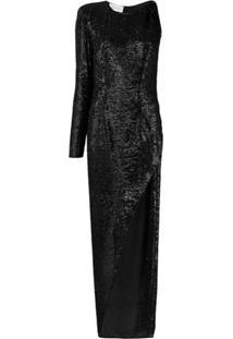 Nervi Vestido Longo Assimétrico Kendall - Preto