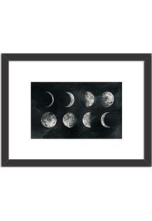 Quadro Decorativo Fases Lunares Preto - Médio