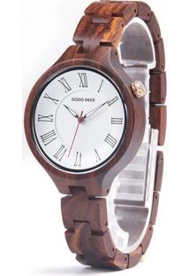 Relógio Design Madeira Dododeer-A09 - Branco