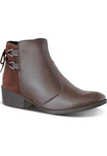 Bota Chelsea Prime Shoes Cano Curto Feminina - Feminino-Cafe