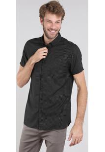 Camisa Masculina Relaxed Estampada Geométrica Manga Curta Preta