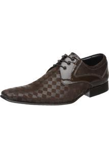 Sapato Social Malbork Textura Verniz Marrom