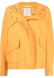 Tela Jaqueta Com Acabamento De Crepe - Amarelo