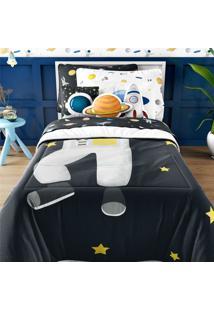 Edredom Infantil Solteiro Astronauta Marinho Grão De Gente Azul