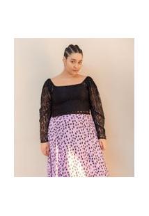 Blusa Em Renda Com Mangas Bufantes Curve & Plus Size | Ashua Curve E Plus Size | Preto | Eg