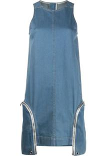 Rick Owens Drkshdw Vestido Reto Com Zíper E Bolso - Azul