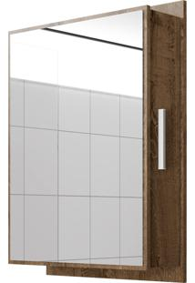 Espelheira Napoli C/ Compartimento Lateral Madeira Rústica Móveis Bechara