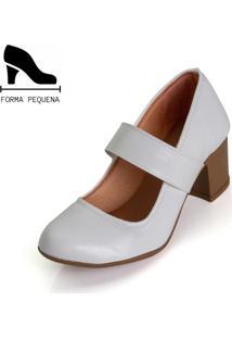 Sapato Scarpin Boneca Salto Mã©Dio Grosso Branco - Branco - Feminino - Couro Sintã©Tico - Dafiti