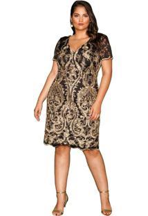Vestido Almaria Plus Size Pianeta Renda Preto