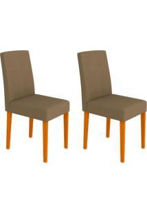 Conjunto Com 2 Cadeiras Heloíse Ipê E Marrom Médio