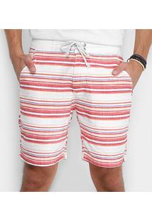Bermuda Moletom Foxton Listras Masculina - Masculino-Branco+Vermelho