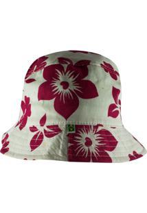 Chapéu Rich Young Bucket Branco Com Rosa