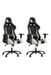 Kit 02 Cadeiras Gamer Giratória Reclinável Com Regulagem De Altura Ergonômica Pro-V Sport Pu Preto/Branco - Gran Belo