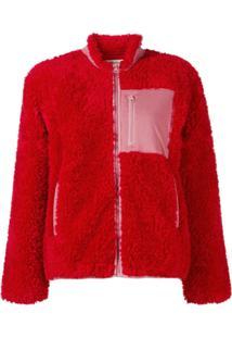 Ymc Jaqueta Color Block Texturizada - Vermelho